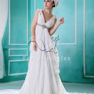 elegant white chiffon v-neck empire maternity wedding dress L-001