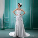 charming and vintage white satin sweetheart a-line wedding dress L-003