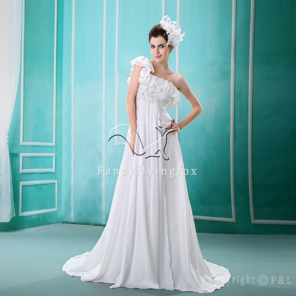 glamour design one shoulder empire maternity wedding dress with ruffles L-004