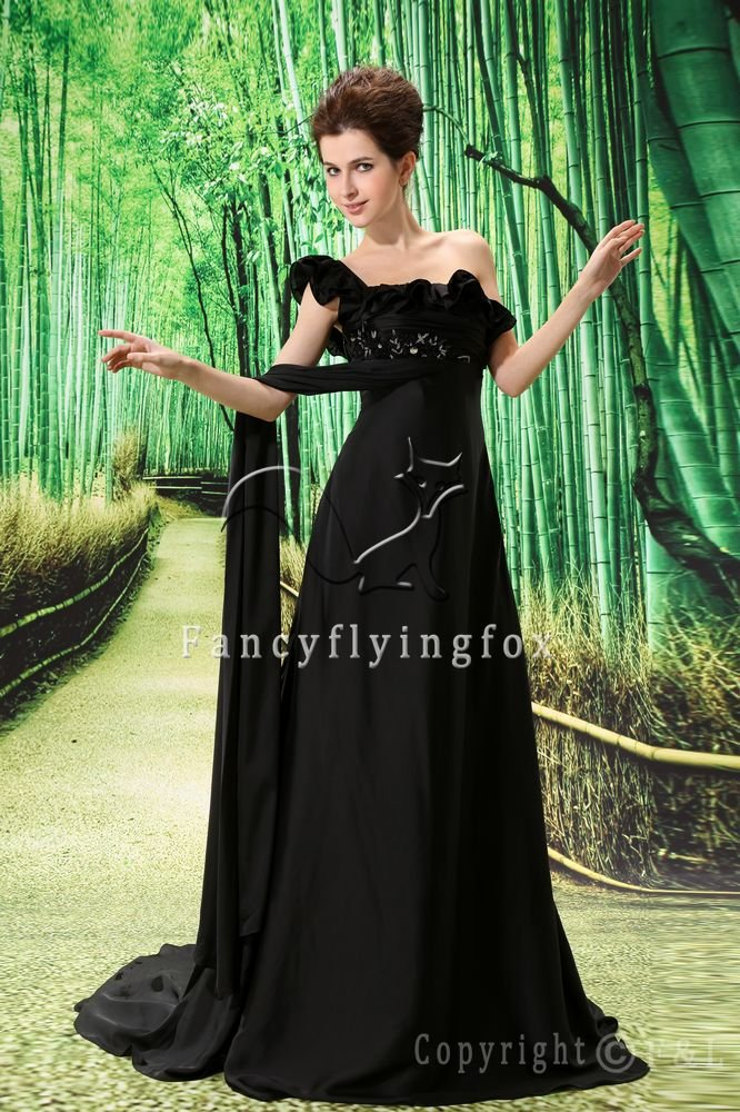 modest black chiffon one shoulder empire maternity prom dress L-004