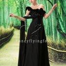 modest black chiffon one shoulder empire maternity prom dress L-004
