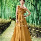 modest gold chiffon one shoulder empire evening dress L-004