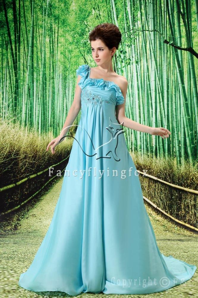 sky blue chiffon one shoulder empire prom dress L-004