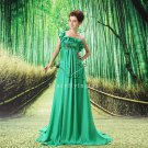 elegant green chiffon one shoulder empire long full length prom dress L-004