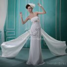 elegant strapless sheath floor length beach casual wedding dress L-005