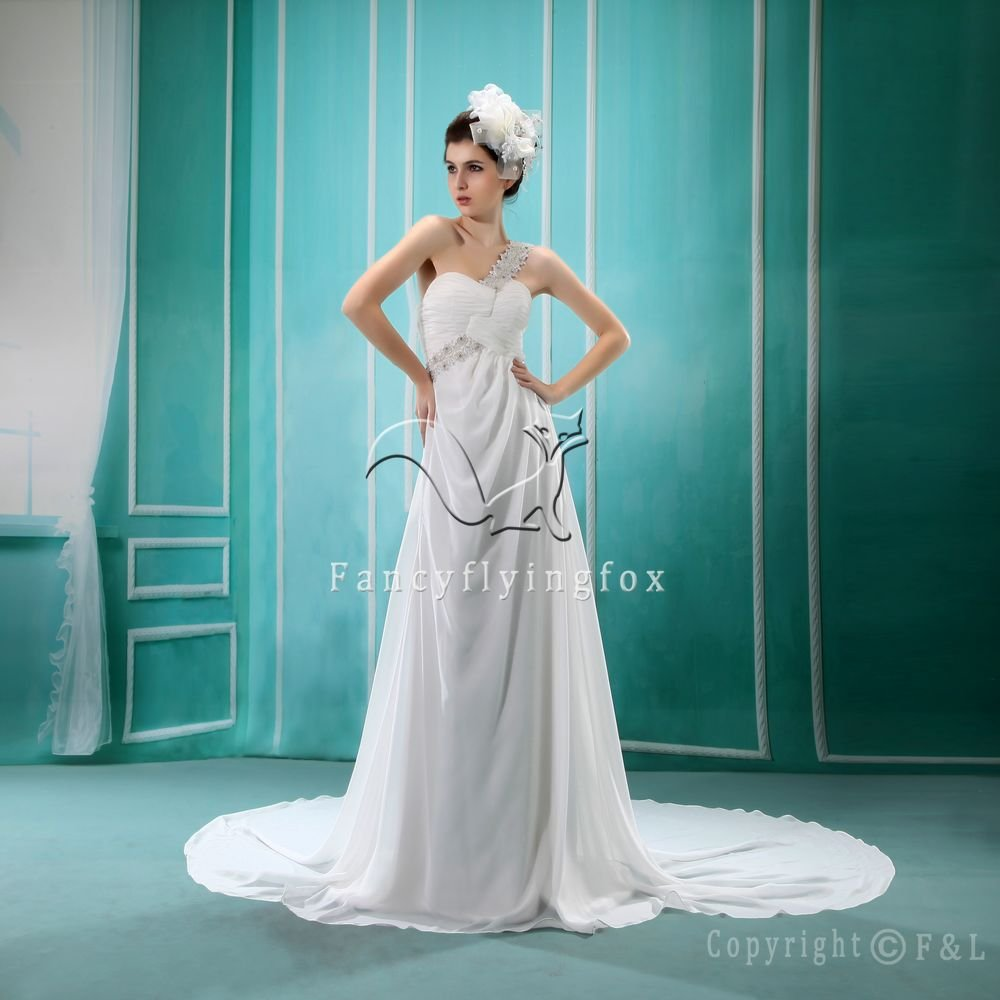 charming white chiffon one shoulder a-line floor length beach casual wedding dress L-007