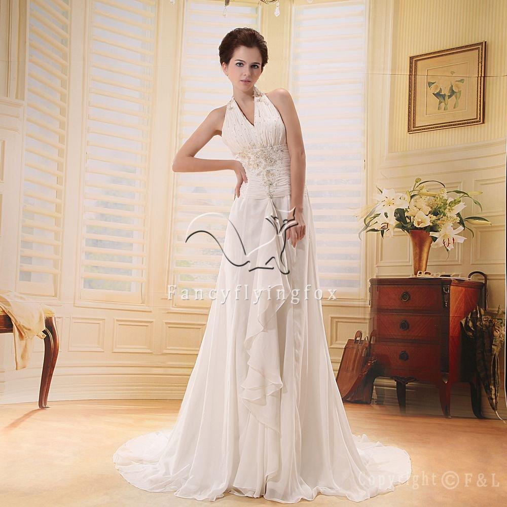 halter style summer chiffon plus size wedding dress L-008