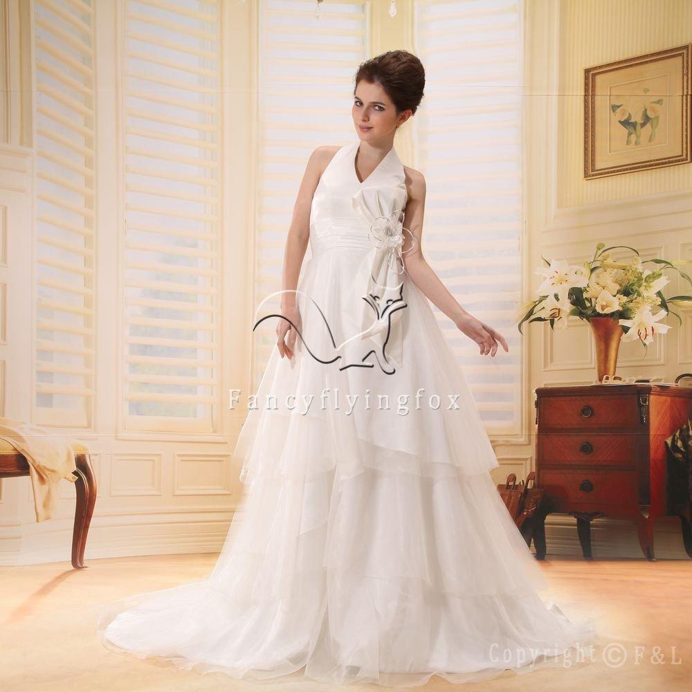 modest halter style empire plus size wedding dress L-009