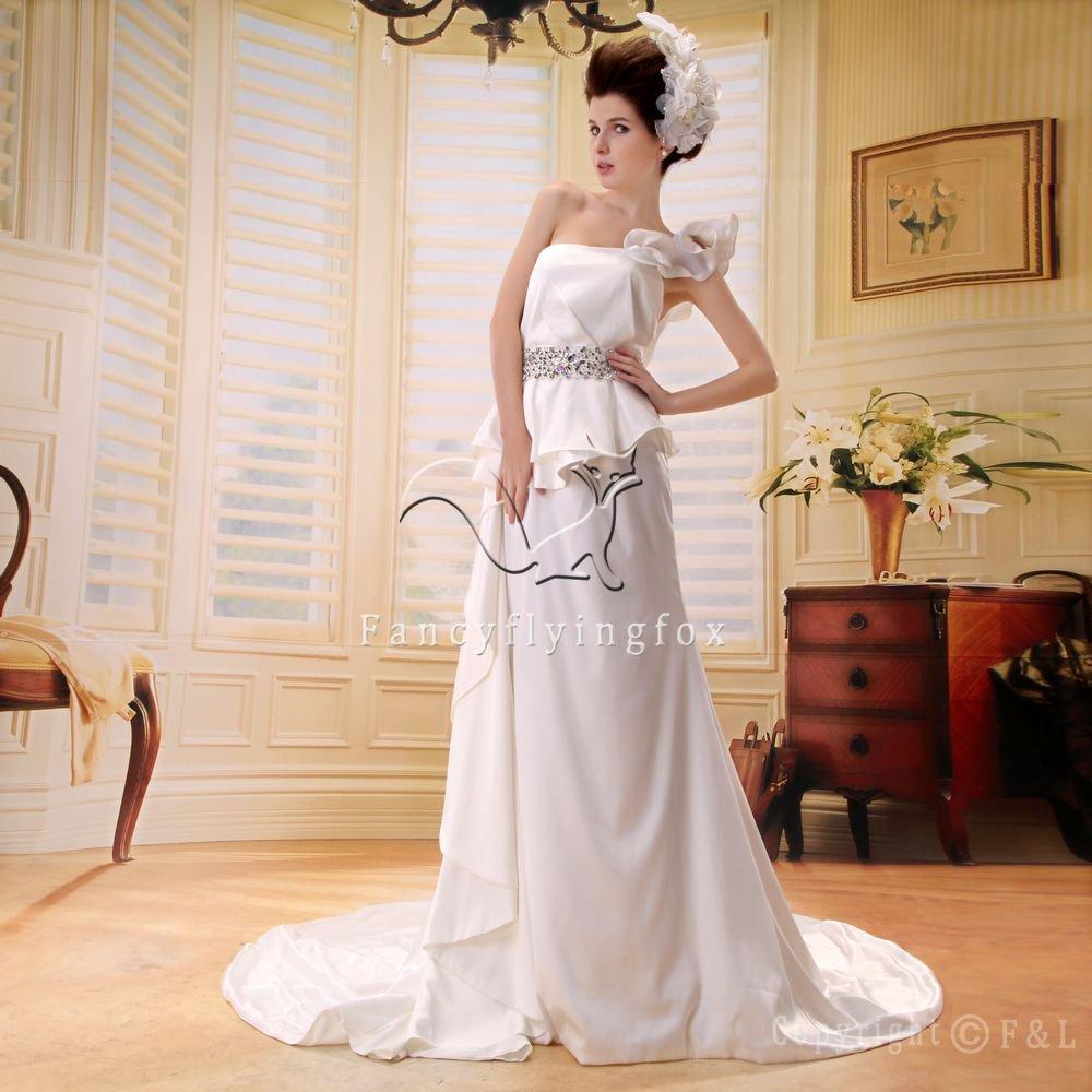elegant satin one shoulder a-line floor length wedding dress L-010