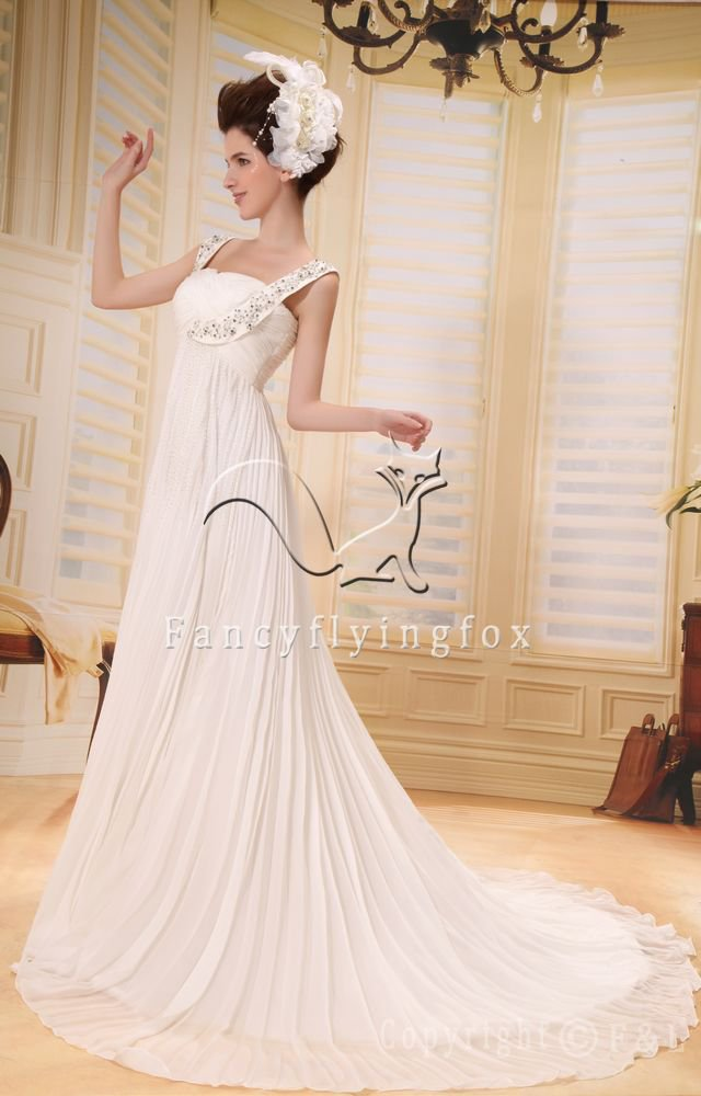 charming empire maternity wedding dress with beaded L-011