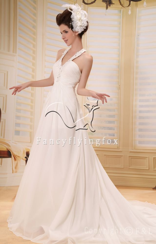 elegant chiffon halter neck a-line floor length beach casual wedding dress L-012