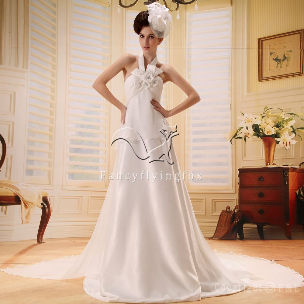elegant halter neck a-line floor length beach casual wedding dress with brush train L-013