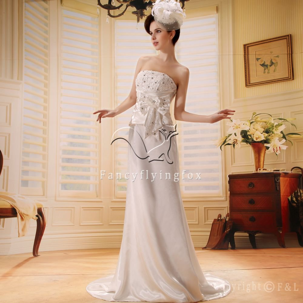 modern strapless a-line foor length wedding gowns L-014