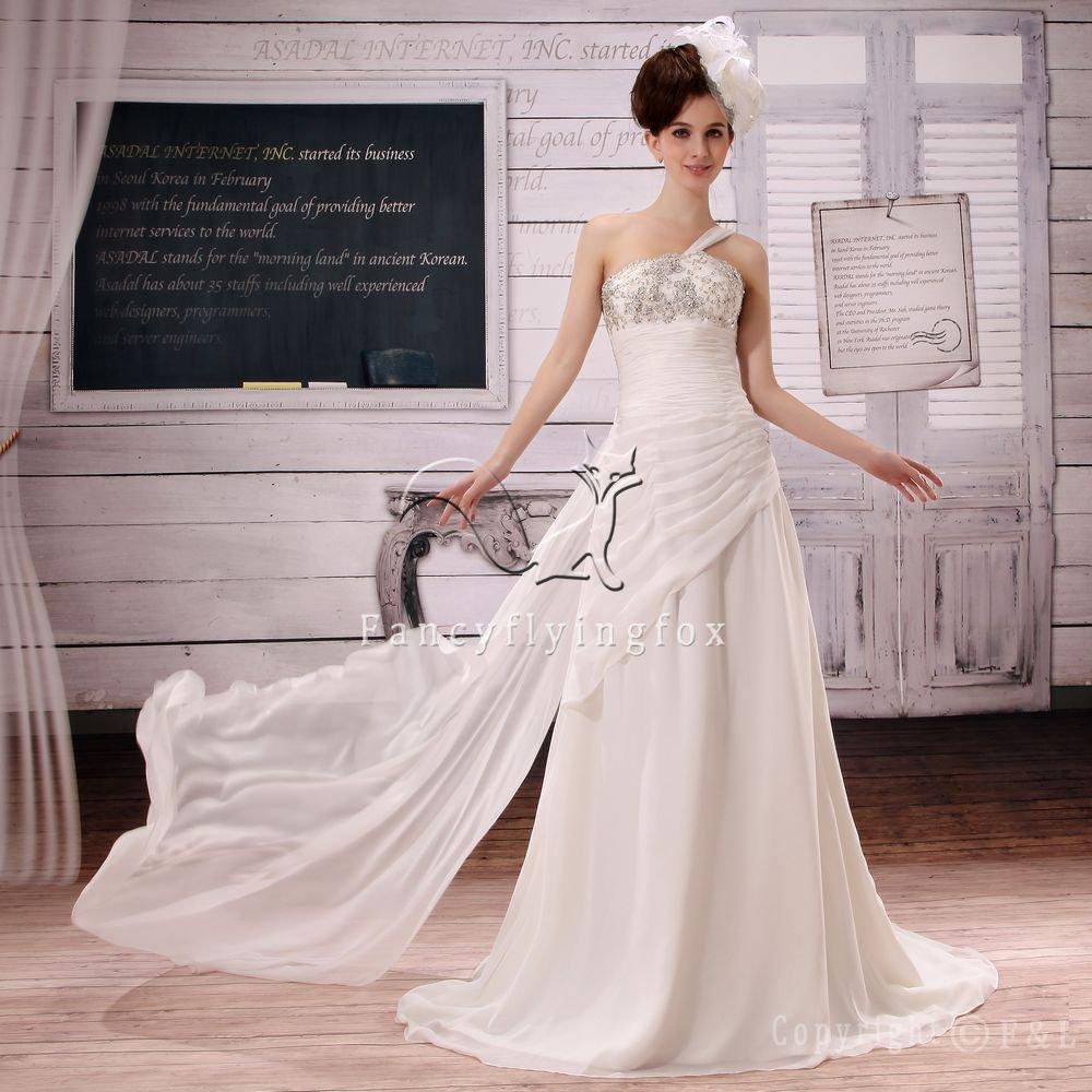 elegant chiffon one shoulder a-line floor length beach casual wedding dress L-015
