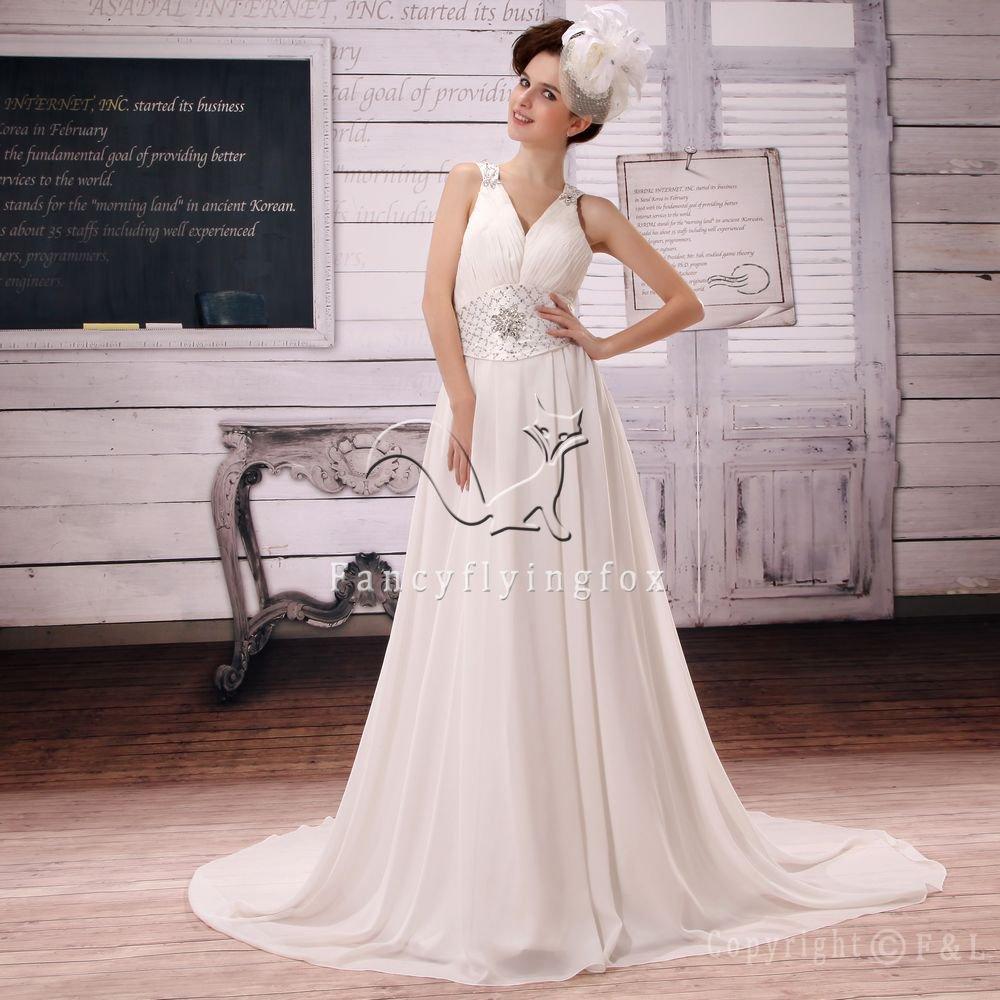 charming design v-neck a-line plus size wedding dress L-017