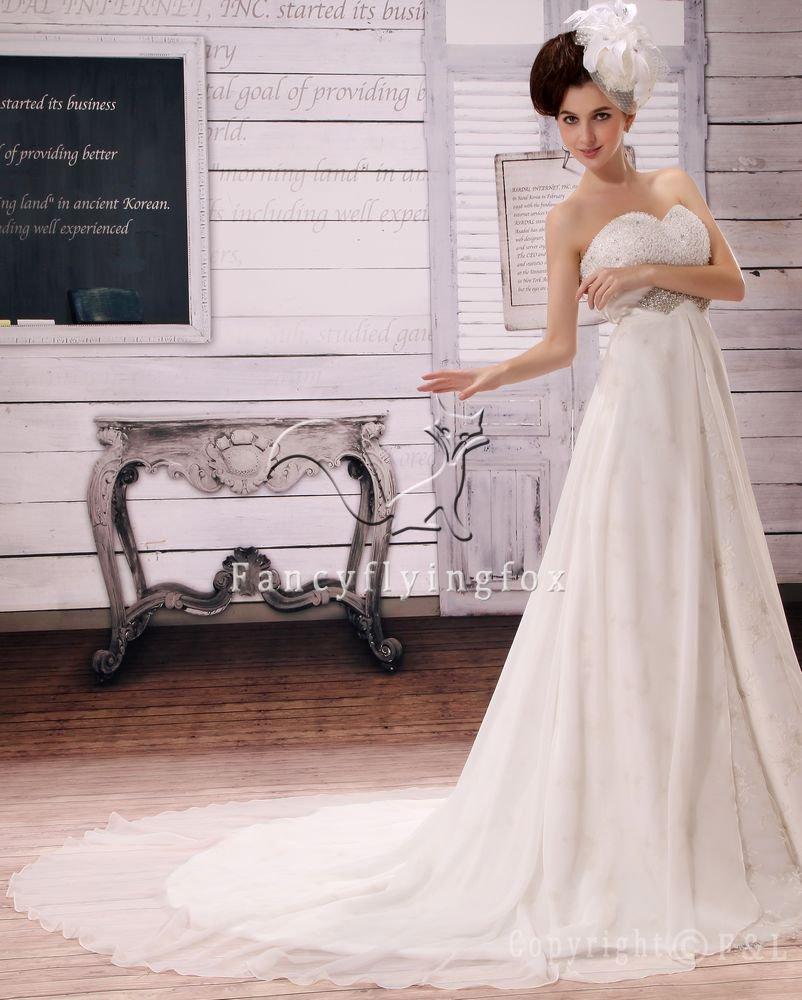 modern sweetheart empire chiffon maternity wedding dress with beaded bust L-018