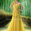 one shoulder yellow chiffon one shoulder a-line floor length evening dress L-019