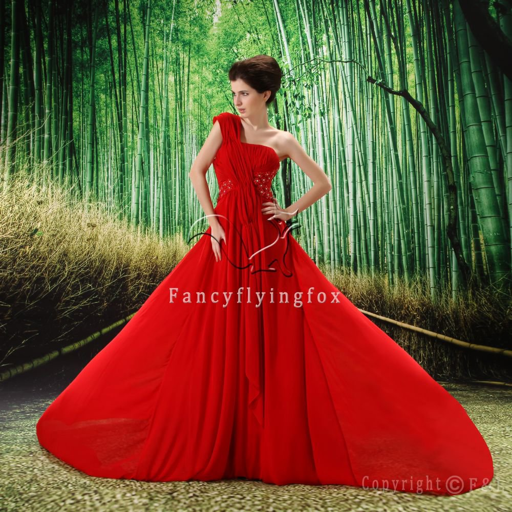 sexy red chiffon one shoulder a-line floor length evening dress L-019