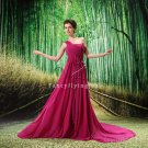 fuchsia chiffon one shoulder a-line formal evening dress L-019