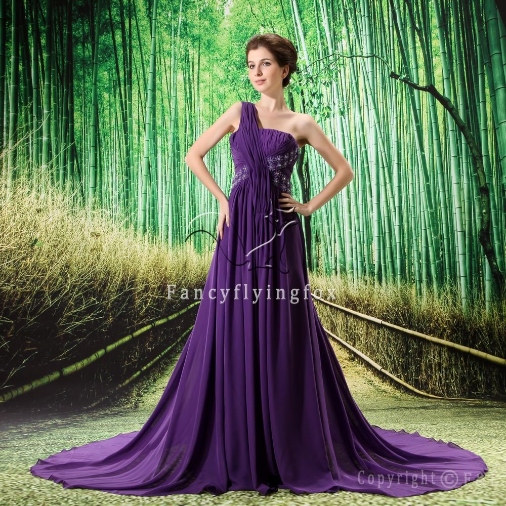 charming purple chiffon one shoulder a-line floor length prom dress L-019