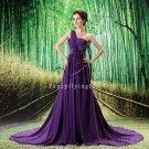 charming purple chiffon one shoulder a-line floor length prom dress L-019