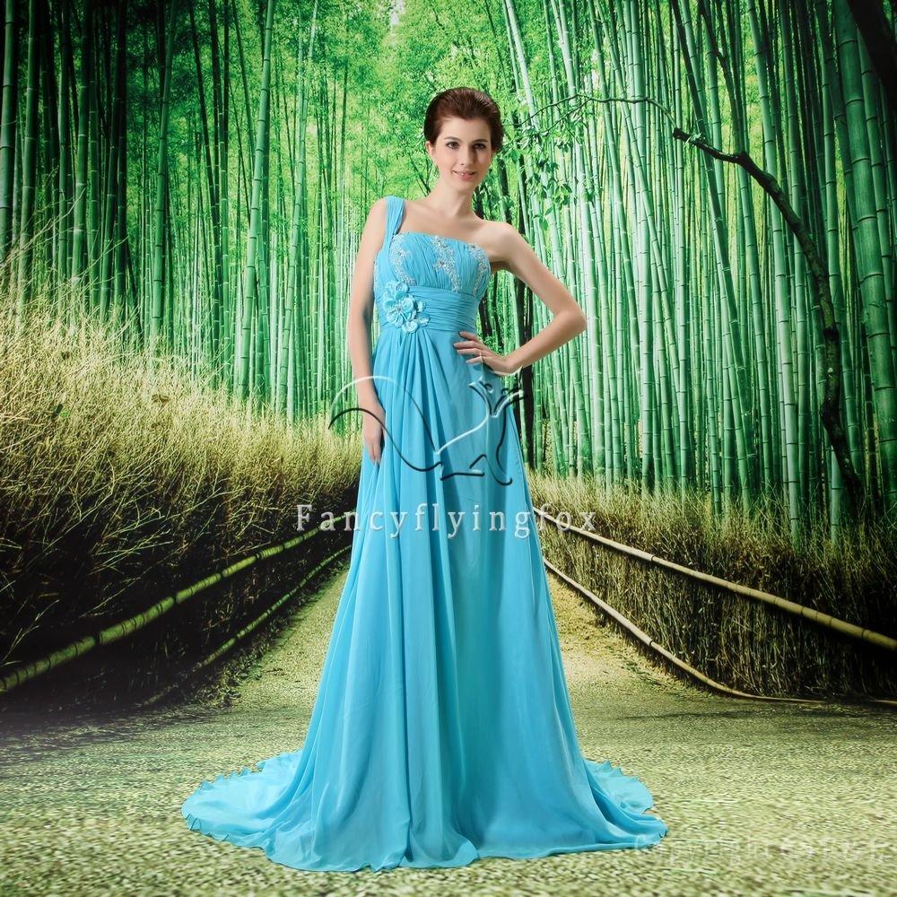 elegant sky blue chiffon one shoulder a-line floor length formal evening dress L-020