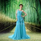elegant sky blue chiffon one shoulder a-line floor length formal evening dress L-020