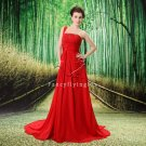sexy red chiffon one shoulder a-line floor length prom dress L-020