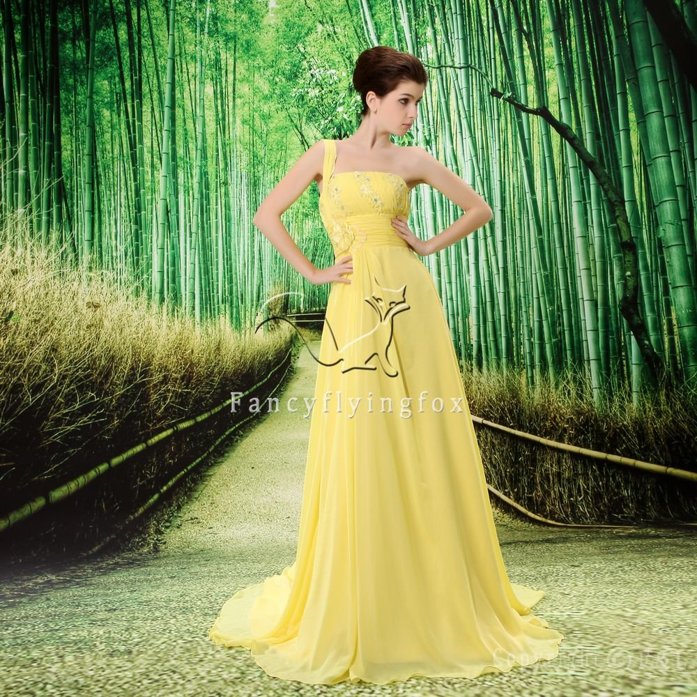 daffodil chiffon one shoulder a-line sweet 16 prom dress L-020