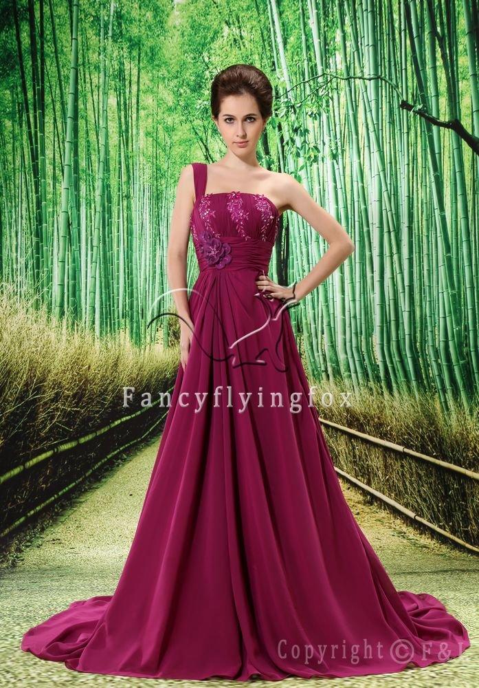 modest grape chiffon one shoulder a-line floor length formal evening dress L-020