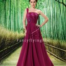 modest grape chiffon one shoulder a-line floor length formal evening dress L-020