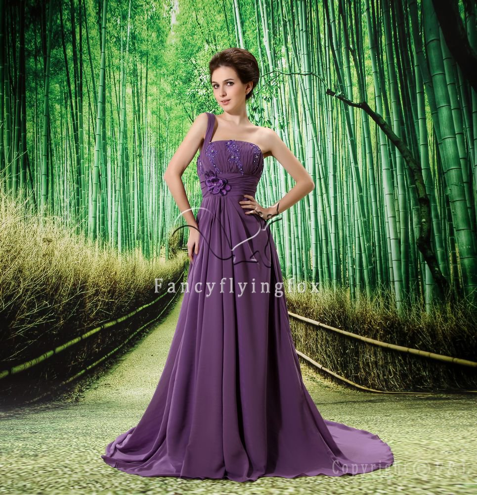 elegant purple chiffon one shoulder a-line floor length evening dress L-020