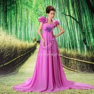 charming empire fuchsia chiffon strapless maternity evening dress L-021