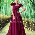 modest burgundy chiffon strapless empire mother of the bride dress with bolero L-021