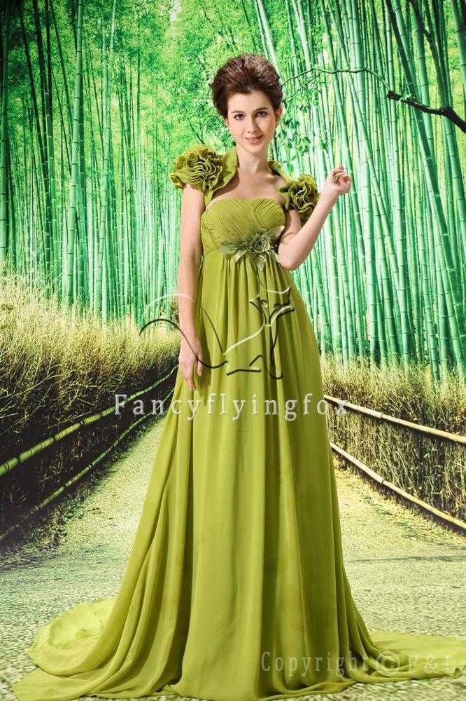 elegant light green chiffon empire maternity evening dress with bolero L-021
