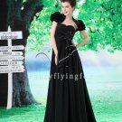 black chiffon sweetheart empire wedding dress with bolero L-021