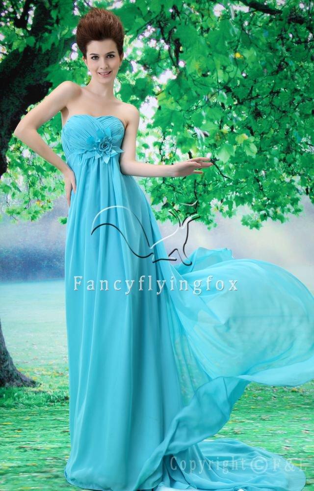 sky blue chiffon sweetheart empire evening dress L-021