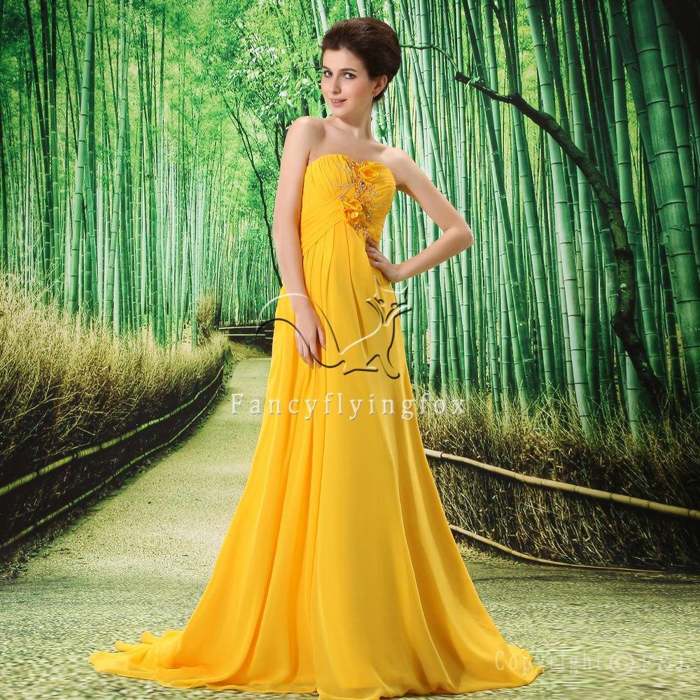 elegant gold yellow chiffon strapless a-line floor length evening dress L-022