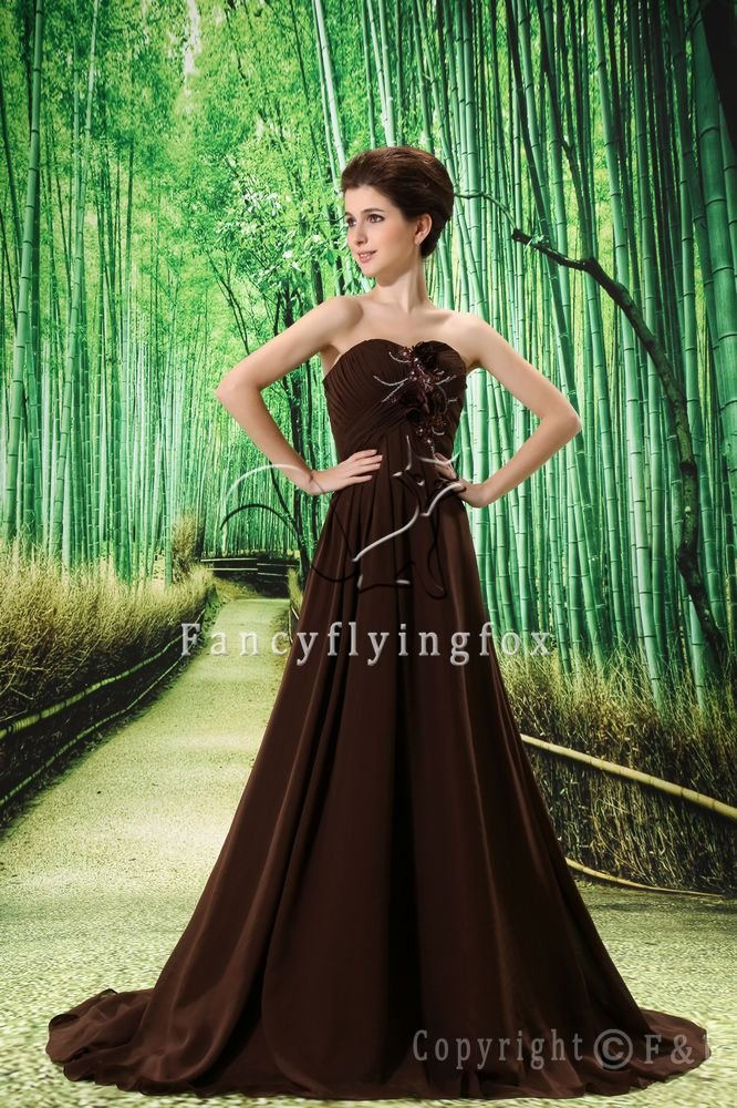 chocolate chiffon strapless a-line mother of the bride dress L-022