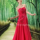 elegant water melon chiffon sweetheart a-line floor length evening dress L-022