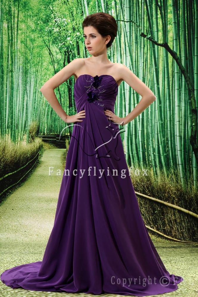 elegant purple chiffon sweetheart a-line floor length evening gowns L022
