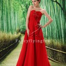 sexy red chiffon sweetheart a-line floor length evening dress L-022