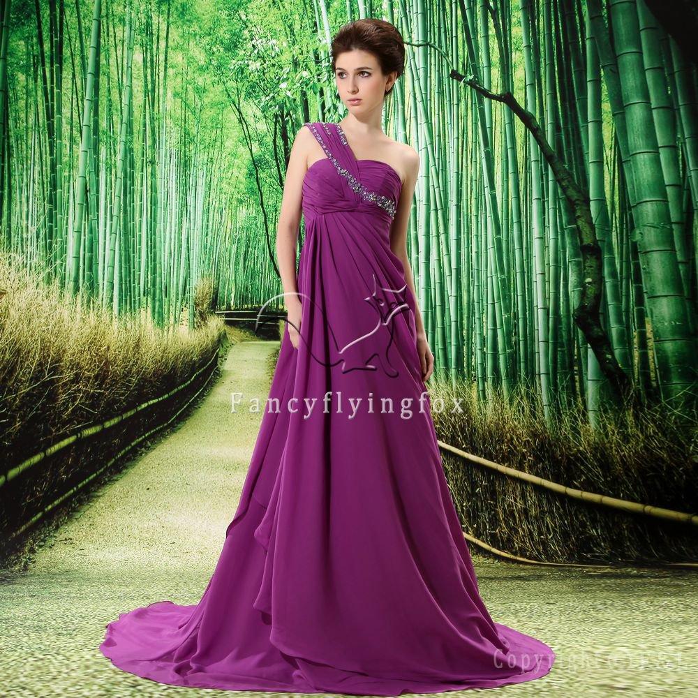 charming purple chiffon asymmetrical one shoulder formal evening dress L-023