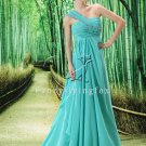 inexpensive ice blue chiffon one shoulder floor length prom dress L-023