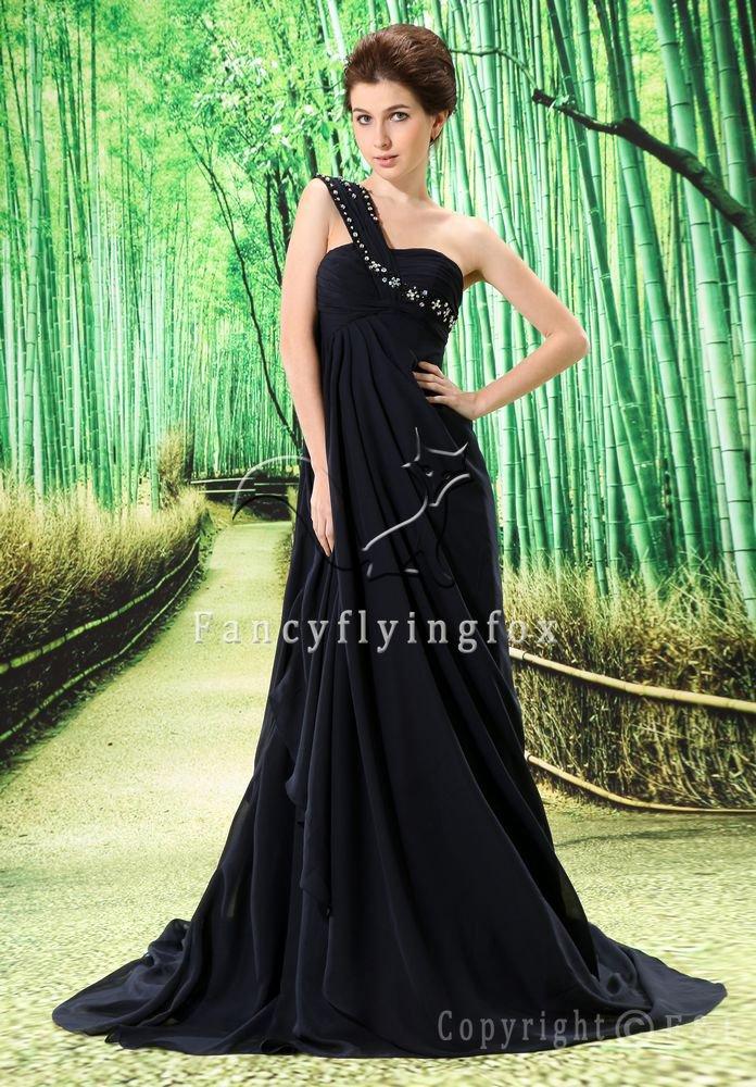 modest black chiffon asymmetrical neck mother of the bride dresses L-023