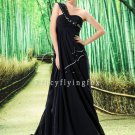 modest black chiffon asymmetrical neck mother of the bride dresses L-023