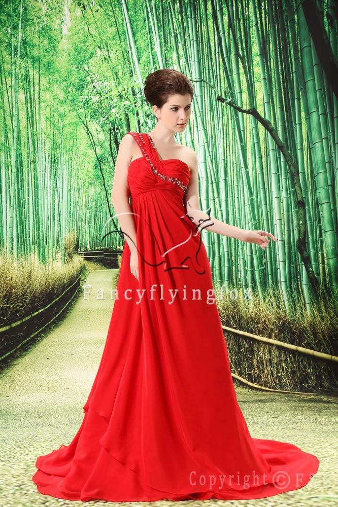 cheap red chiffon one shoulder empire maternity prom dress L-023