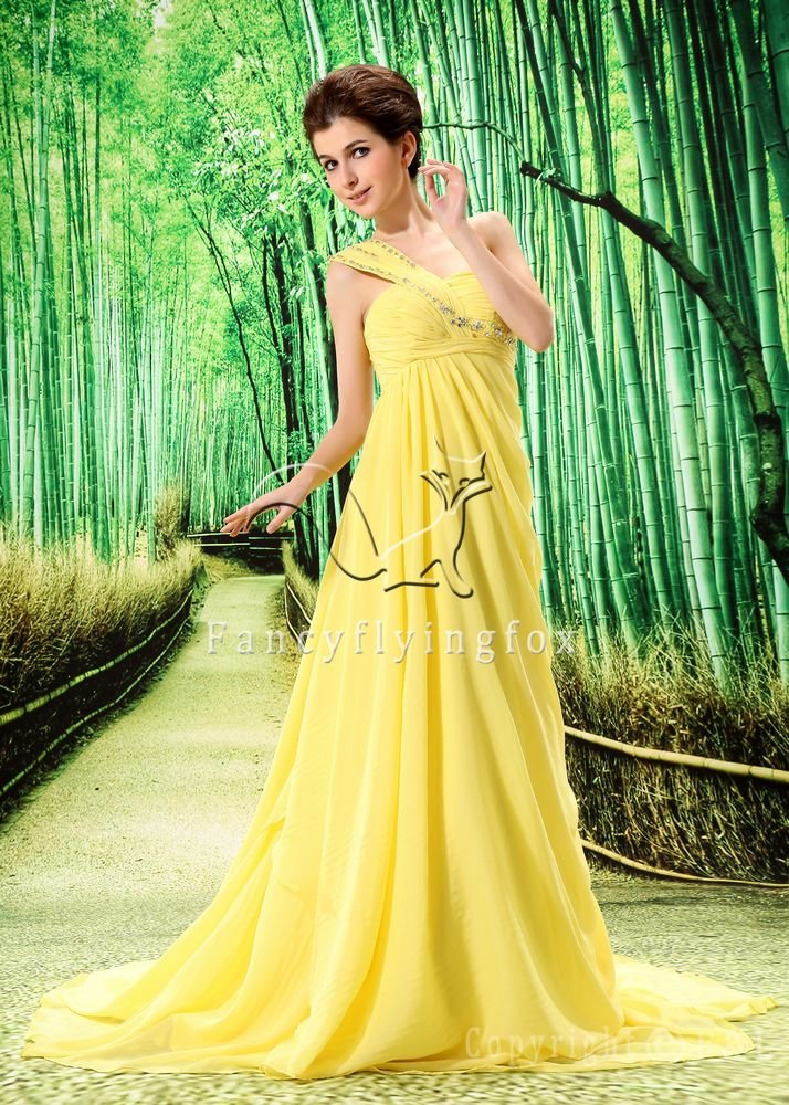 sweet daffodil chiffon one shoulder a-line long evening gowns L-023