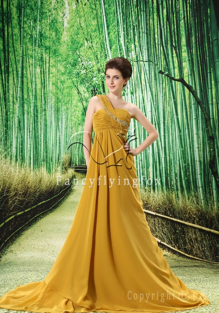 modest asymmetrical gold chiffon one shoulder a-line mother of the bride dress L-023