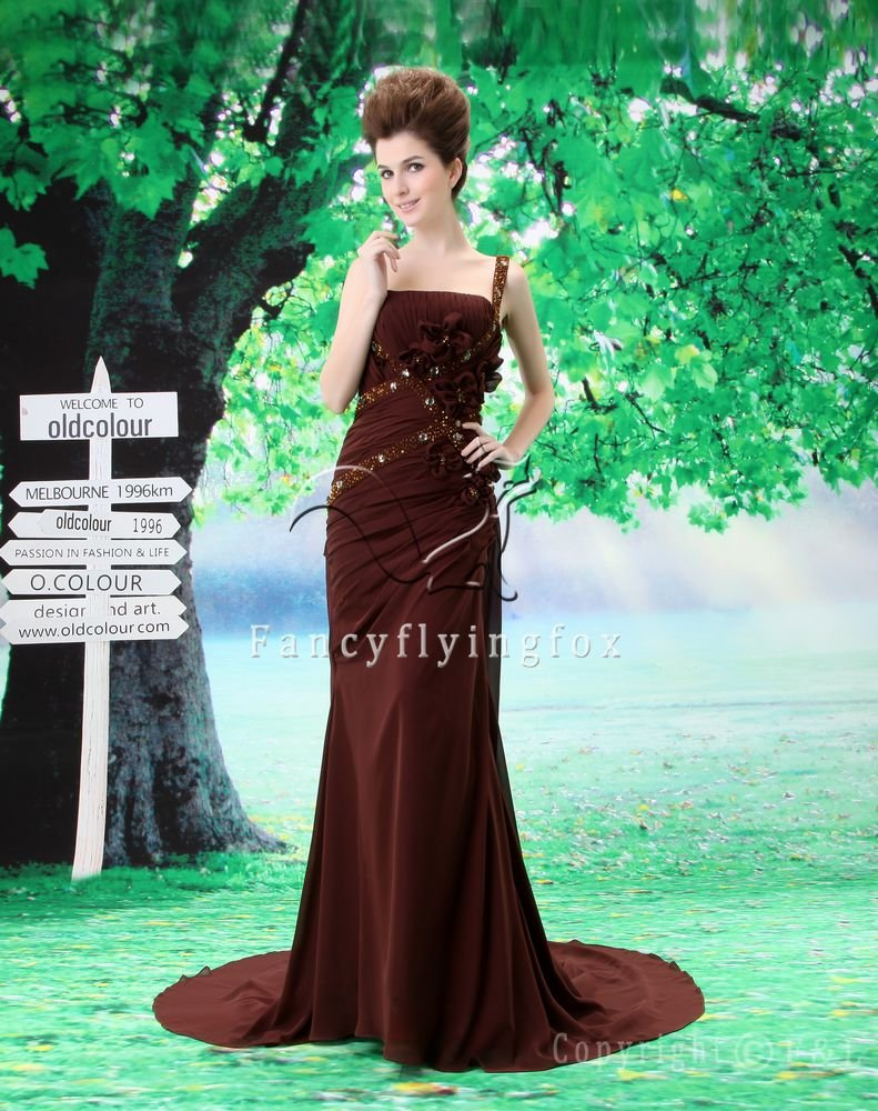 affordable chocolate chiffon one shoulder a-line floor length mother of the bride dress L-024